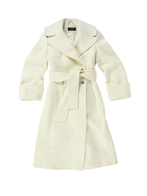 """The approach should be about confidence. Before, I would feel insecure and buy coats to cover myself up. But now I realise how playful I can be.""  Wool coat, £350, Karen Millen"