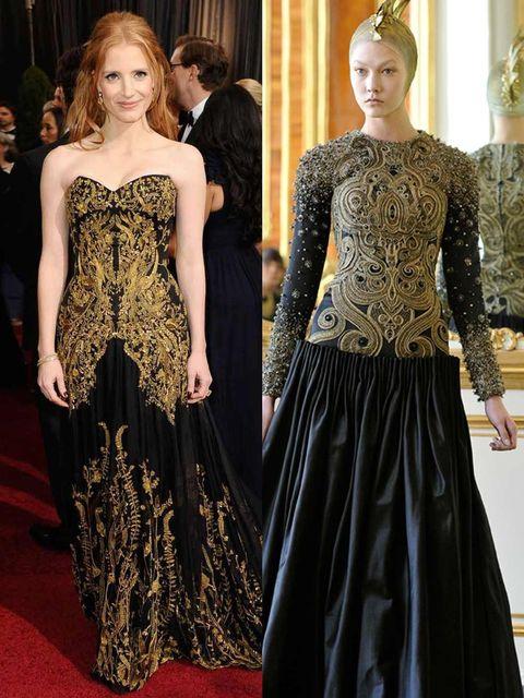 <p>Jessica Chastain wore Alexander McQueen</p>