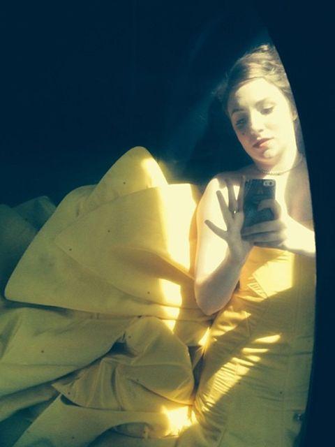 <p>Lena Dunham: horizontal in the vehicle</p>