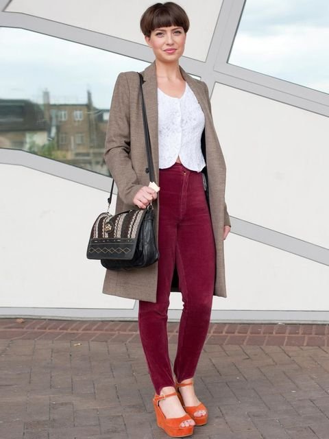 <p>Lucie Harley, 21, Fashion Student. Zara jacket, vintage blouse &amp&#x3B; trousers, New Look shoes, vintage bag.</p>
