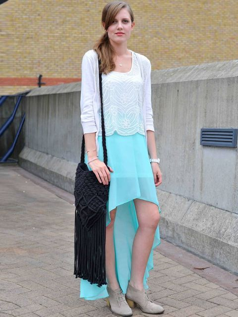 <p>Rachel Stewart, 21, Fashion Student. Topshop cardigan, vest, skirt and shoes, Urban Outfitters bag, Toy watch.</p>