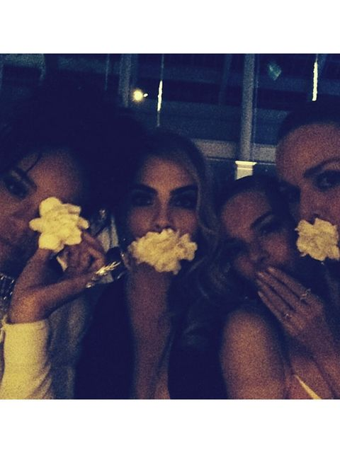 <p>Cara Delevingne and co. fooling around at the met gala ball.</p>