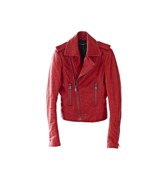 """<p>Balenciaga red leather jacket, was £1,535 now £1,030, at <a href=""""http://www.vestiairecollective.com/biker--rouge-balenciaga.shtml"""">Vestiaire Collective</a></p>"""