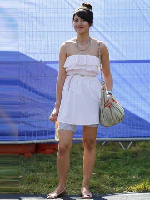 <p>Siu Shing, 28, Communications Director. Dress from Hong Kong, H&amp&#x3B;M lace shorts, shoes and belt, Primark headband, All Saints bag.</p>