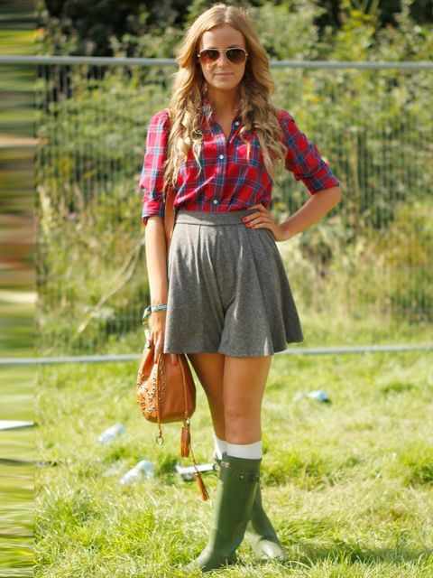 <p>Amelia Tew, 17, Student. Gilly Hicks shirt, Topshop skirt and bag, Hunter wellies.</p>