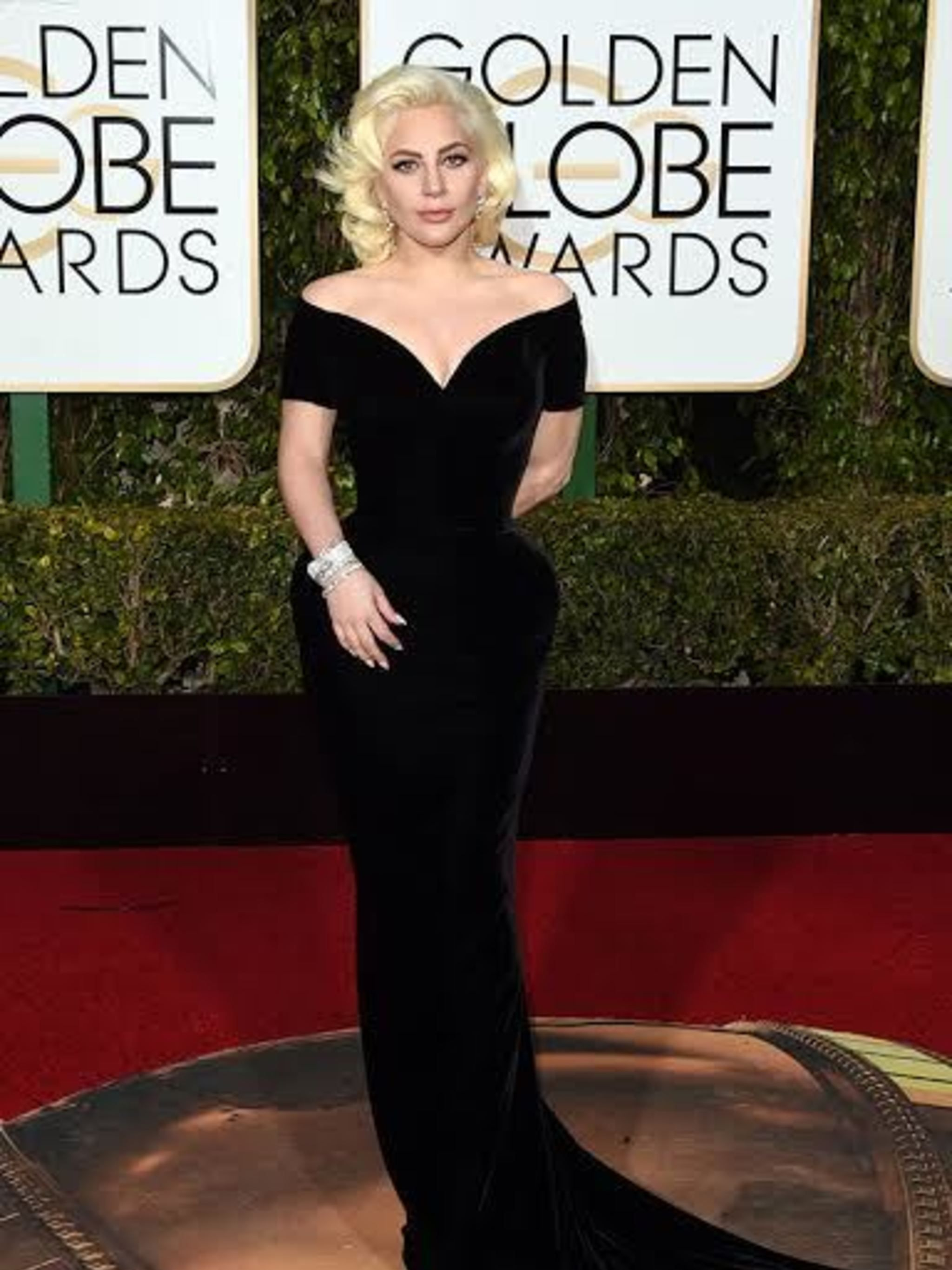 <p>Lady Gaga in Atelier Versace:Take Lady Gaga's theatrical, bold attitude, add in Versace's all out glamazon styleand voilá, you've got a red carpet moment of epic proportions. The curvy silhouetteand classic black velvet fabric of this dress suit Ga