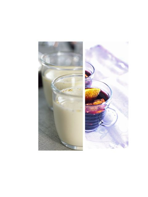 <p><strong>Egg Nog vs Mulled Wine</strong></p><p><strong>Egg Nog with Rum: </strong>440 calories for one glass with 13.3 grams of fat</p><p><strong>Mulled Wine: </strong>220 calories for a medium sized glass with 0g of fat</p><p><strong>Calories saved:</s