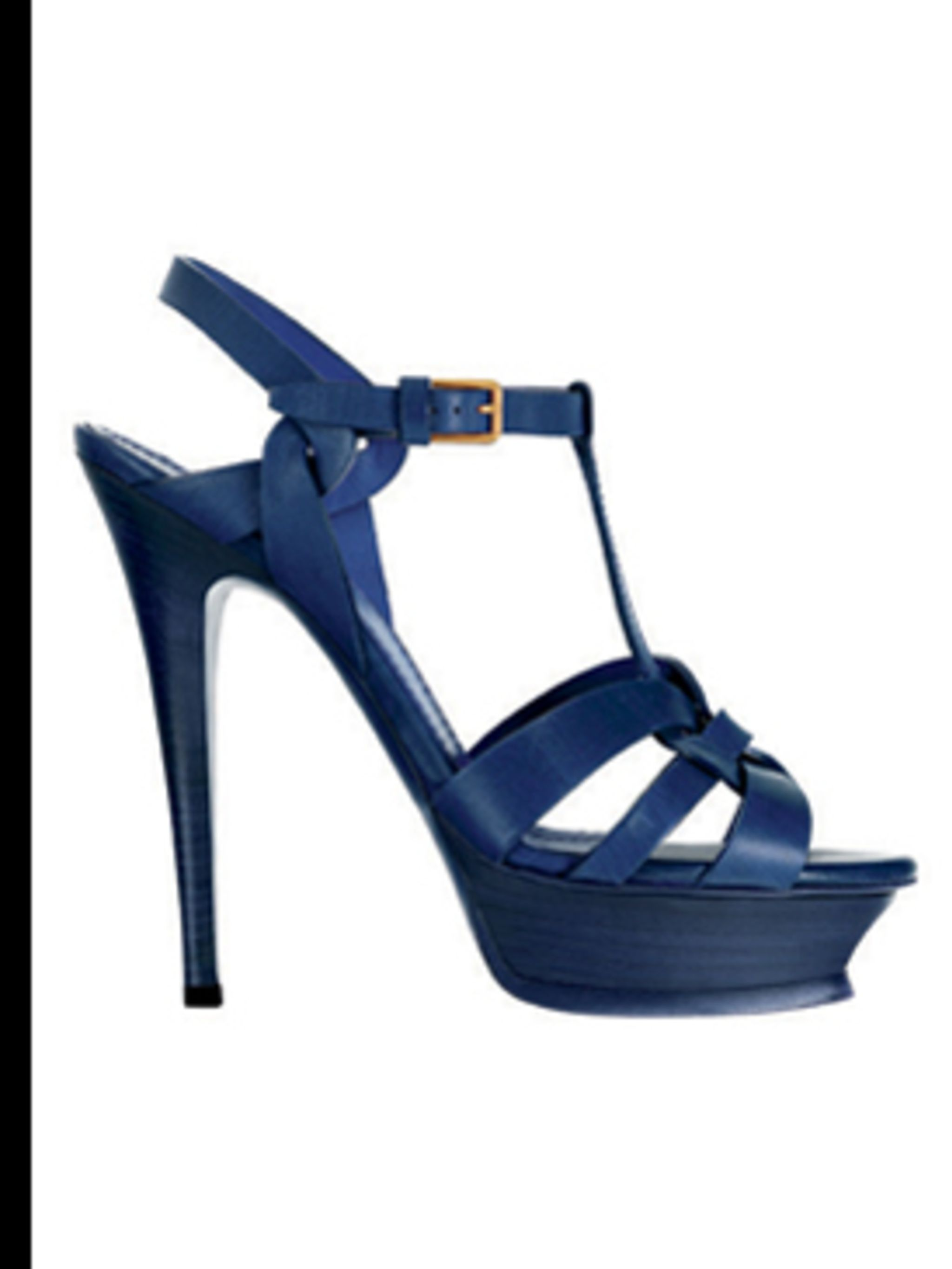 <p>Blue leather tribute sandals, £400, by Yves Saint Laurent, for stockists call (0207 493 1800)</p>