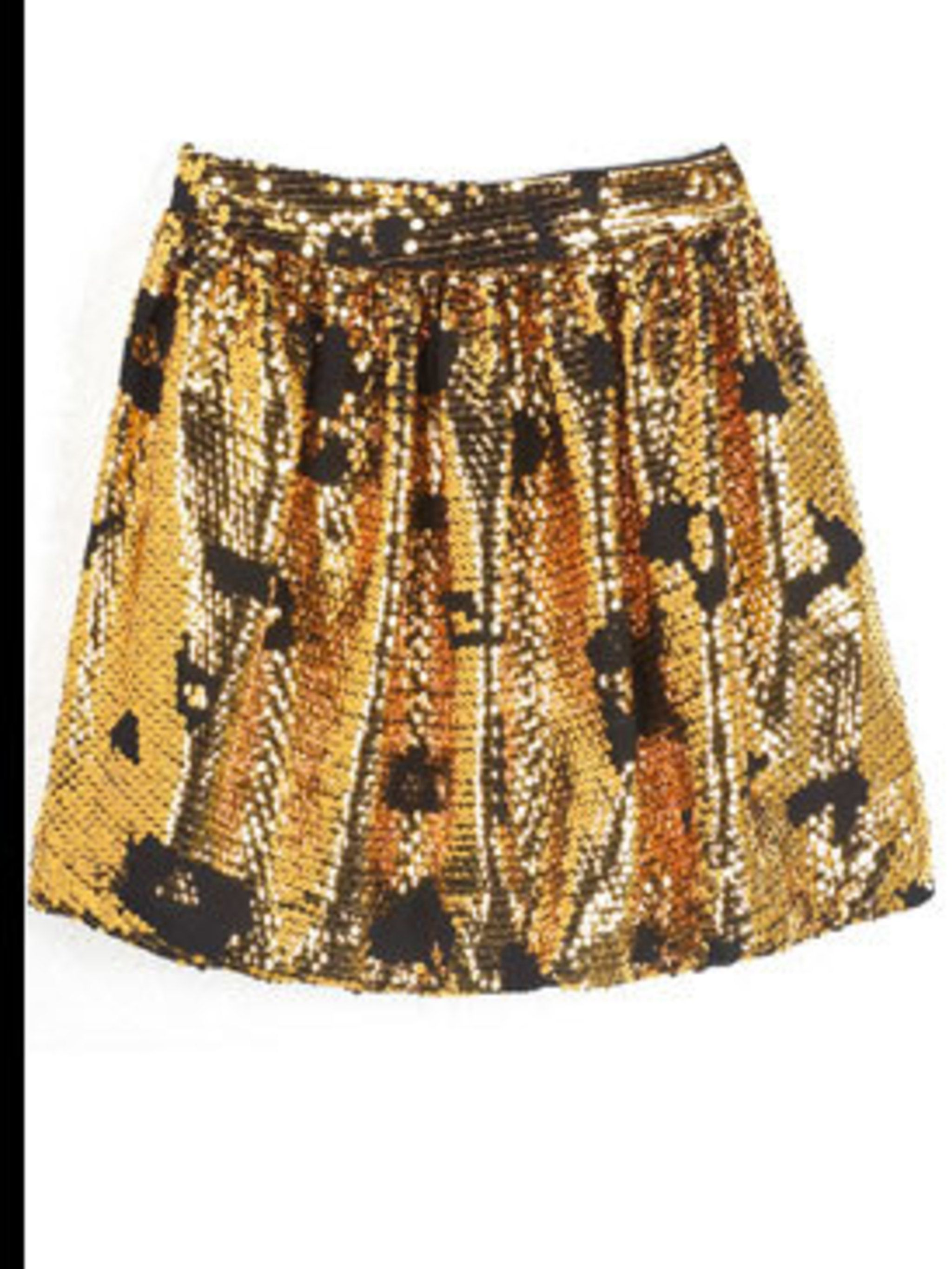<p>Gold sequined skirt, £289, by See by Chloe at Harrods (0207 730 1234)</p>