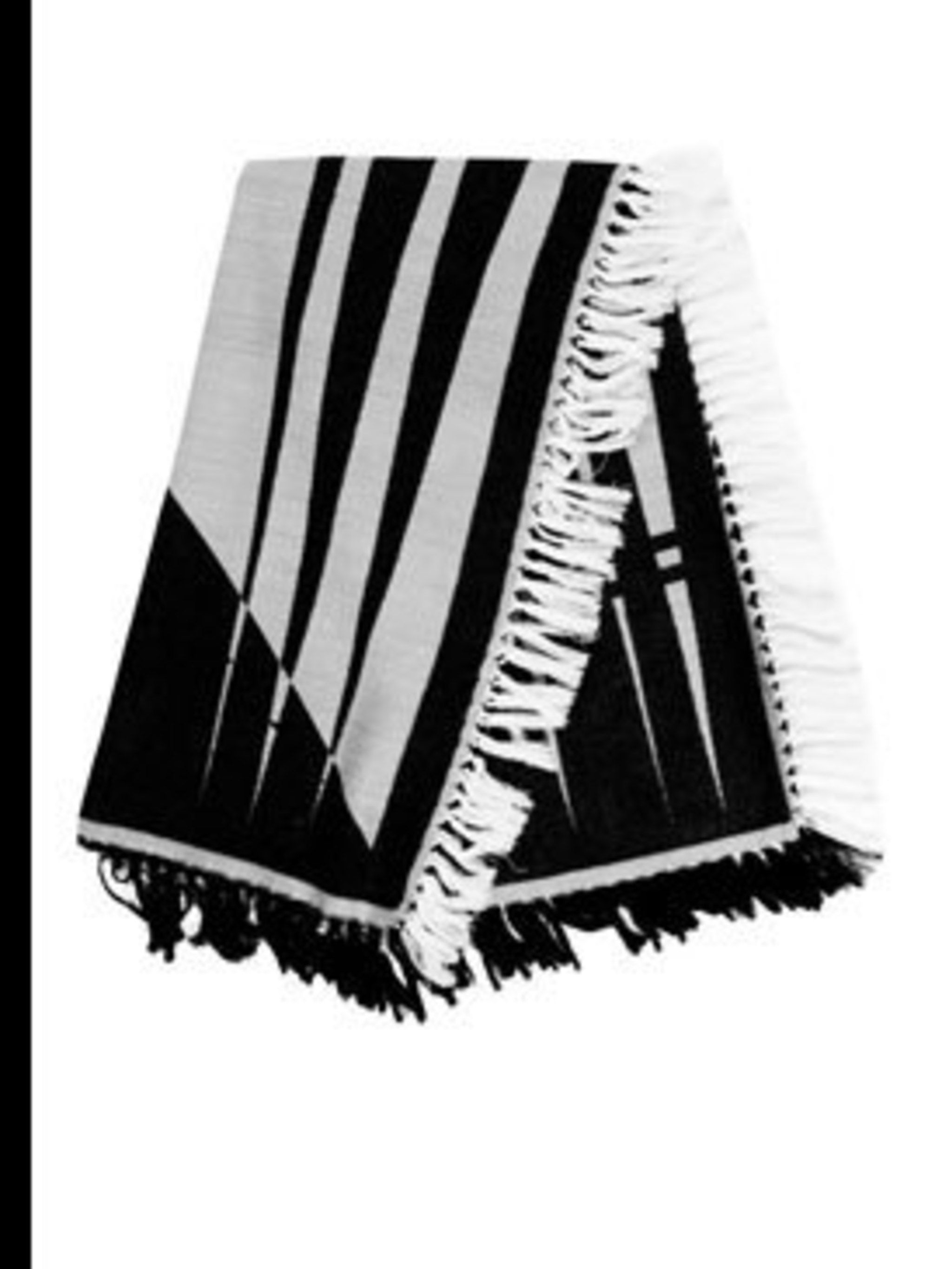 "<p>Black and white scarf, £115, by Henry Vibskov at <a href=""http://www.farfetch.com/shopping/women/designer-henrik-vibskov/search/item10009490.aspx"">Farfetch</a></p>"