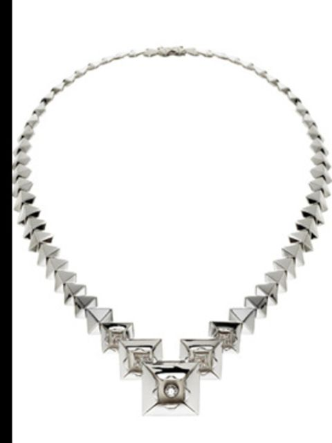 """<p>Necklace, price on request from Sho at <a href=""""http://www.kabiri.co.uk/jewellery/necklaces/graduated_origami_necklace"""">Kabiri</a></p>"""