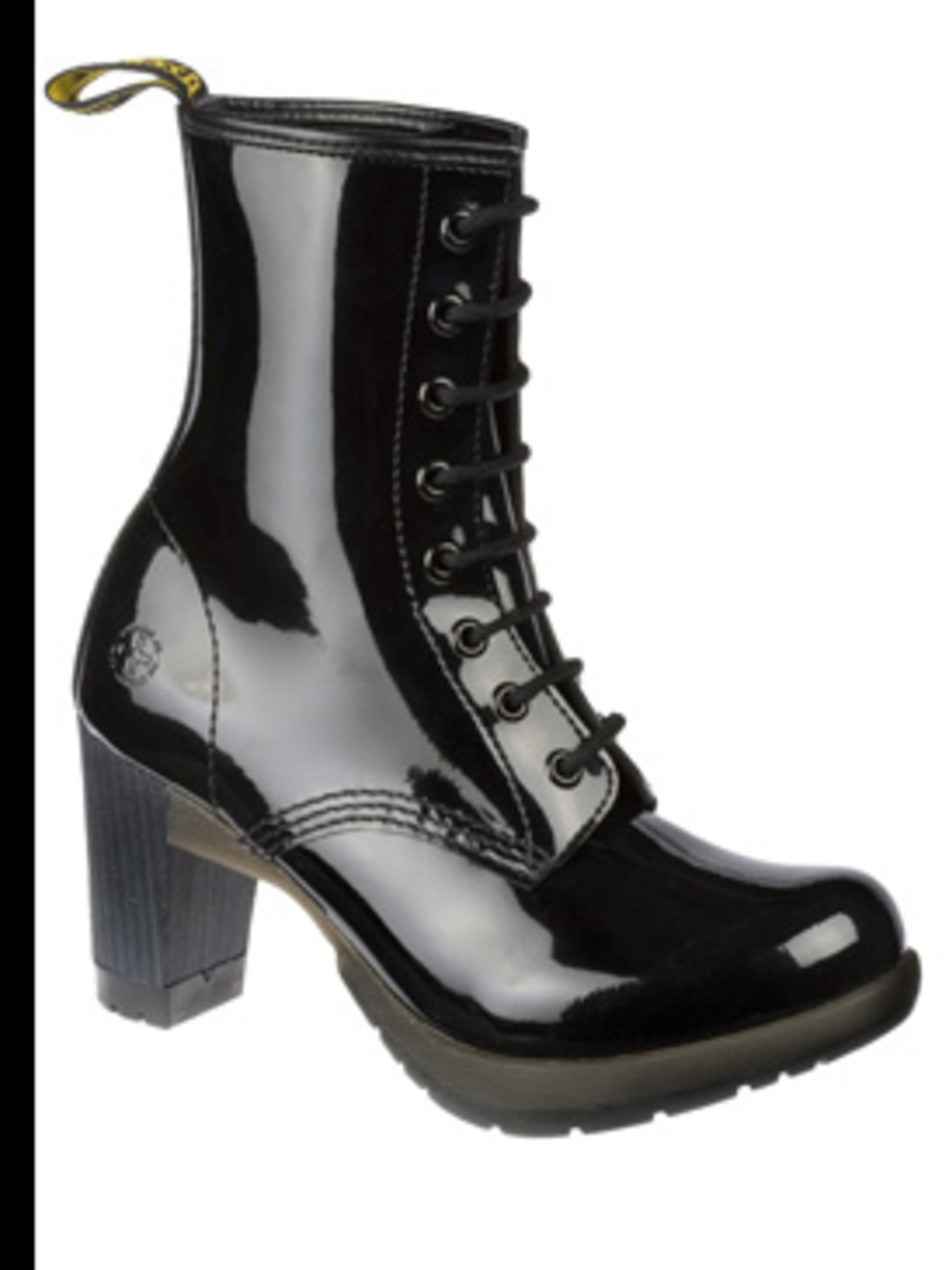 "<p>Black patent high heeled boots, £70, by <a href=""http://store.drmartens.co.uk/p-3411-darcie.aspx"">Dr Martens</a></p>"