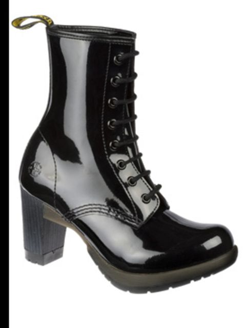 """<p>Black patent high heeled boots, £70, by <a href=""""http://store.drmartens.co.uk/p-3411-darcie.aspx"""">Dr Martens</a></p>"""