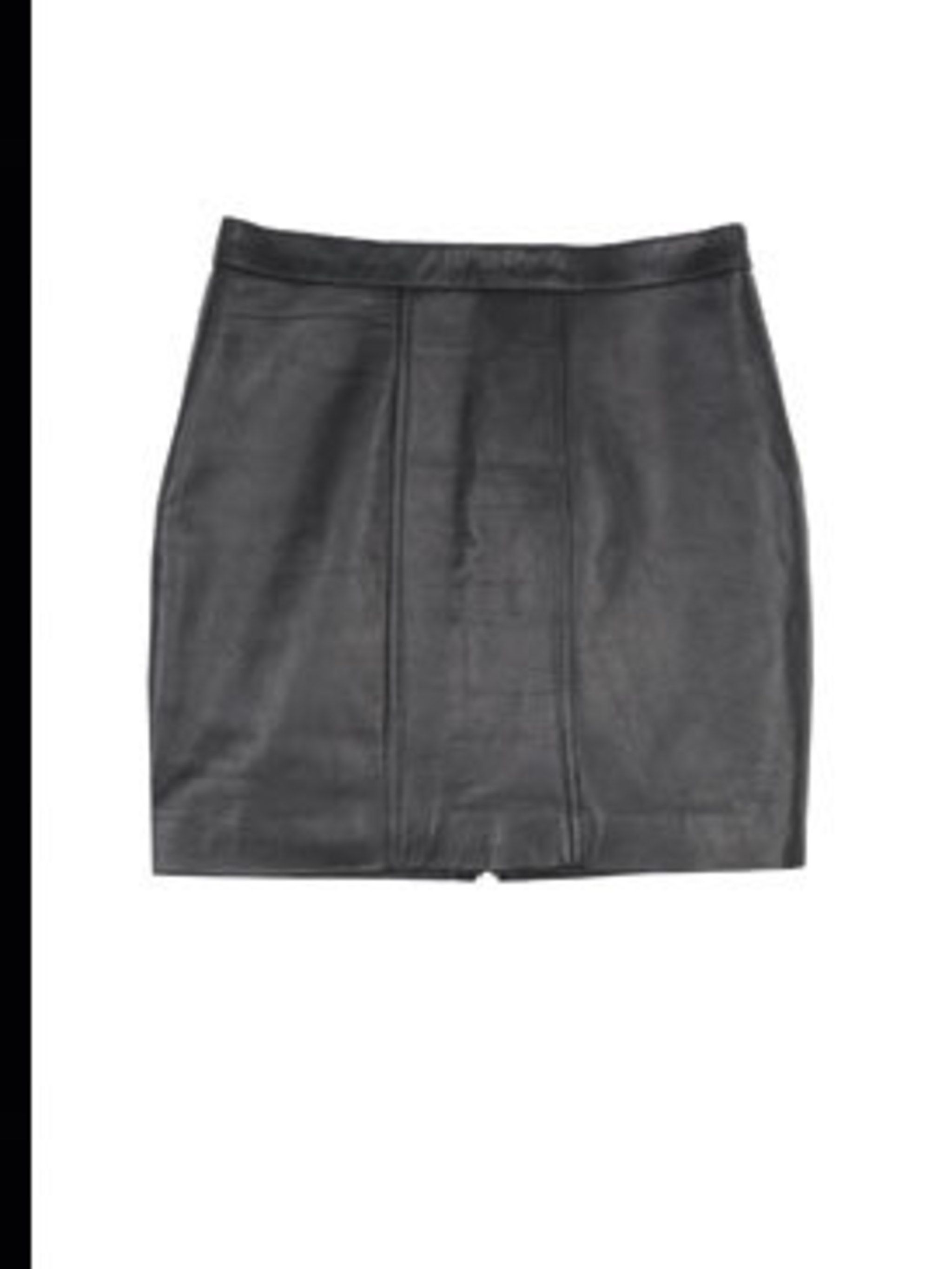 <p>Black leather skirt, £55, by Renewal at Urban Outfitters (0203 219 1944).</p>