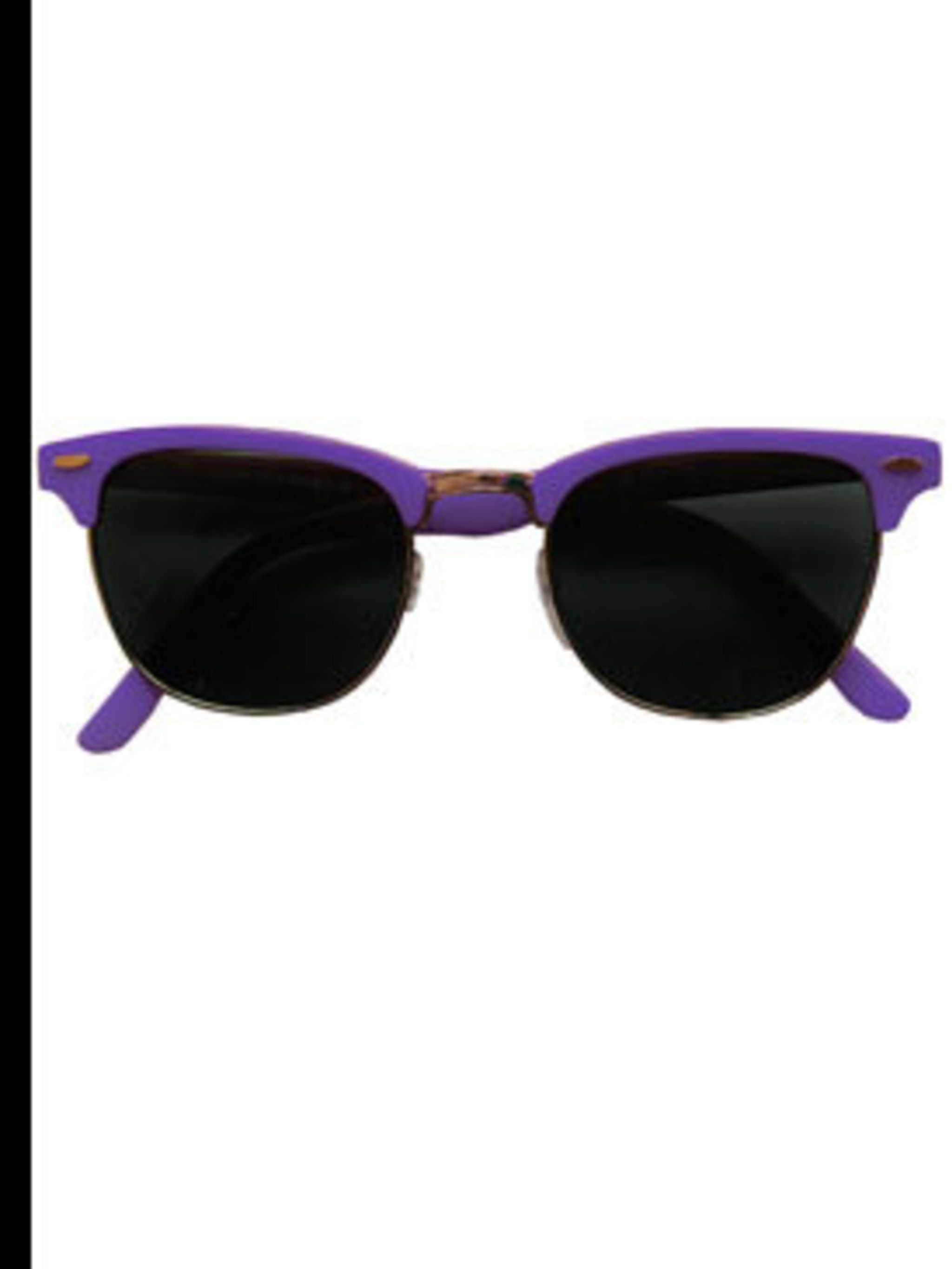 "<p>Purple sunglasses, £14, by <a href=""http://www.lazyoaf.co.uk/product_info.php?cPath=72_83&products_id=1289"">Lazy Oaf</a></p>"