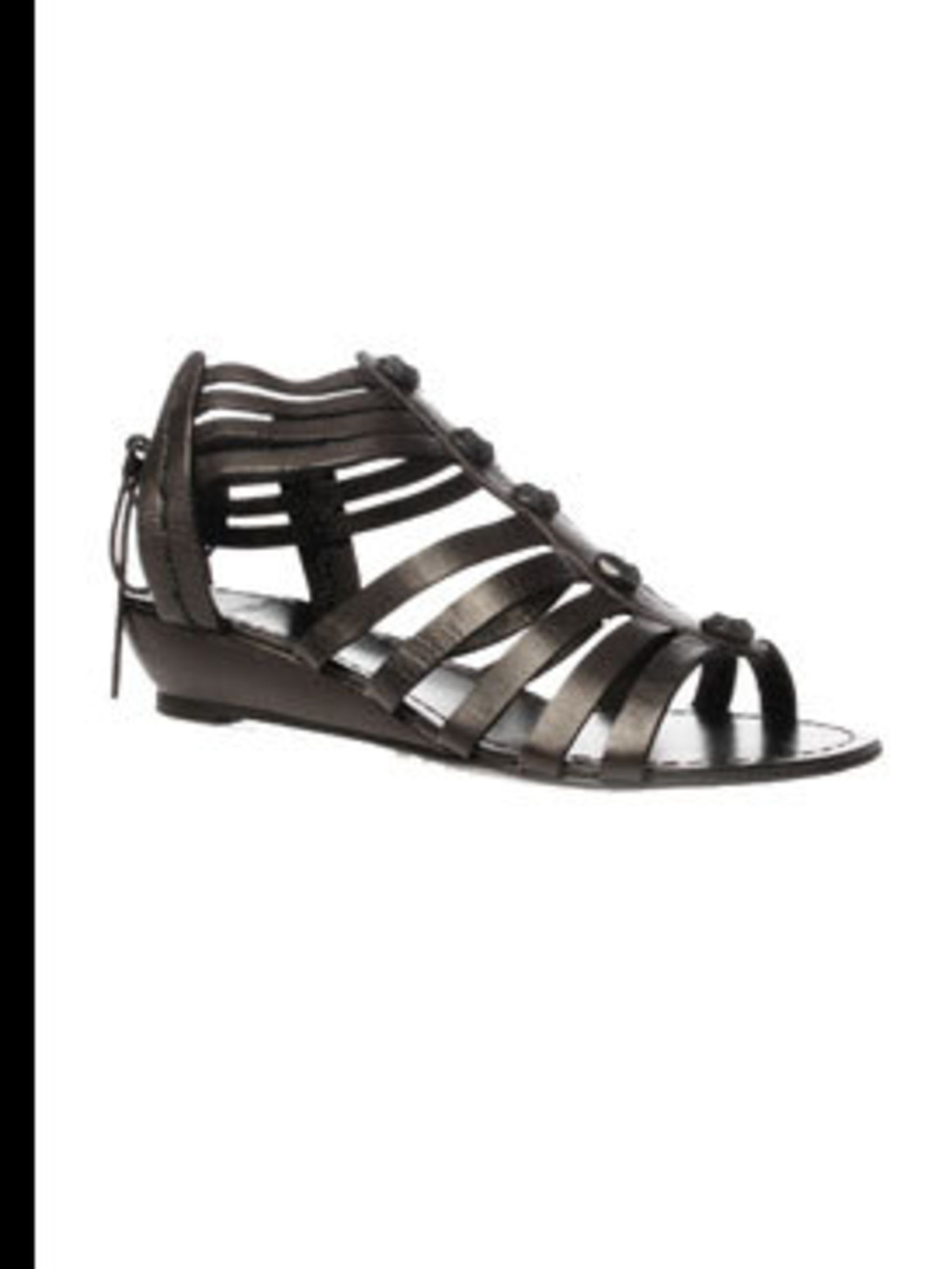 "<p>Black sandals, £75, by <a href=""http://www.kurtgeiger.com/online-shop/89063-carvela-kenedy"">Carvela</a></p>"