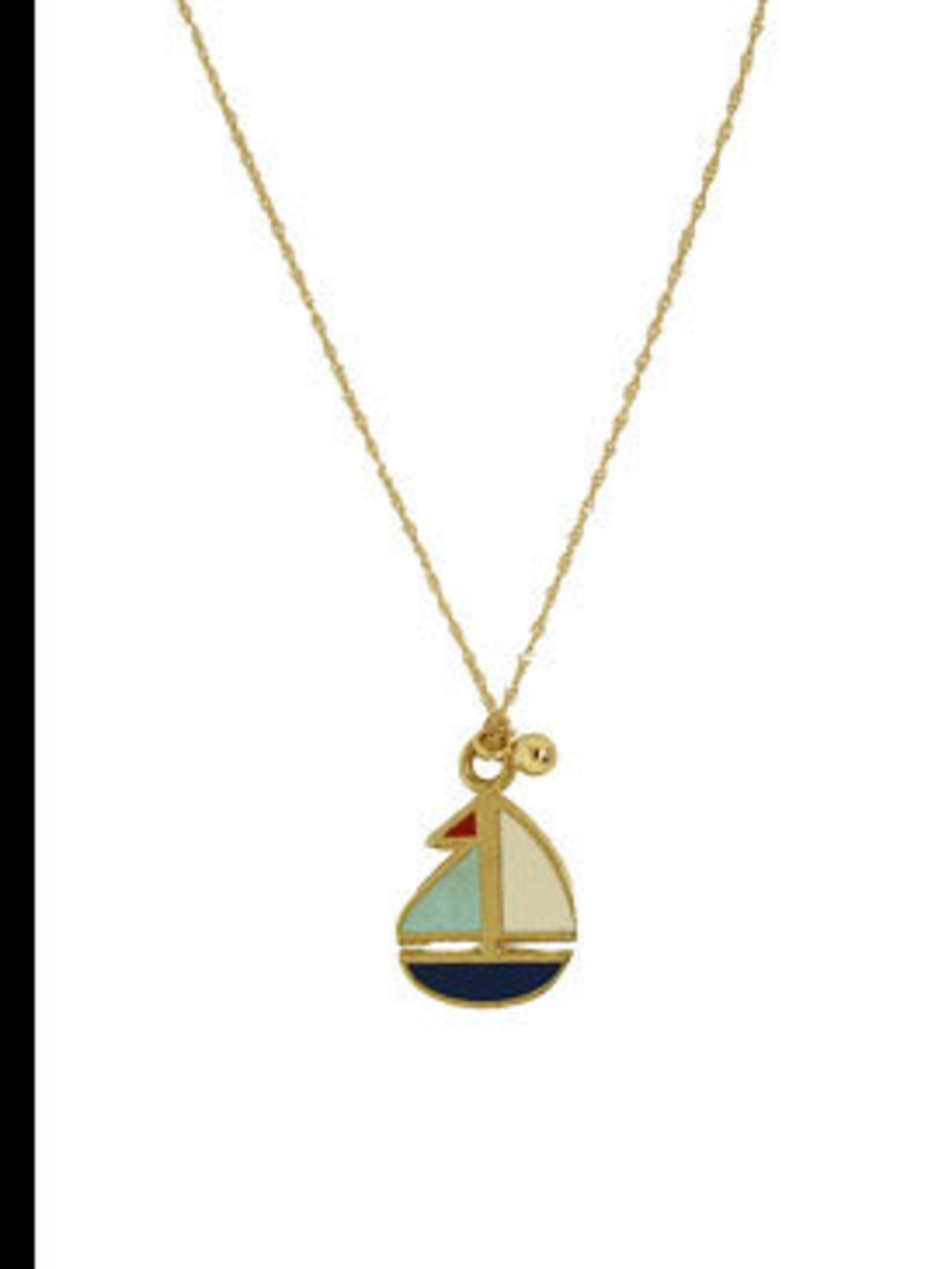 "<p>Boat pendant necklace, £180, by Ginette NY at <a href=""http://www.kabiri.co.uk/jewellery/necklaces/boat_pendant"">Kabiri</a></p>"