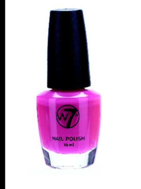<p>Bright pink nail polish, £4.95, by W7 (01753 639 137)</p>