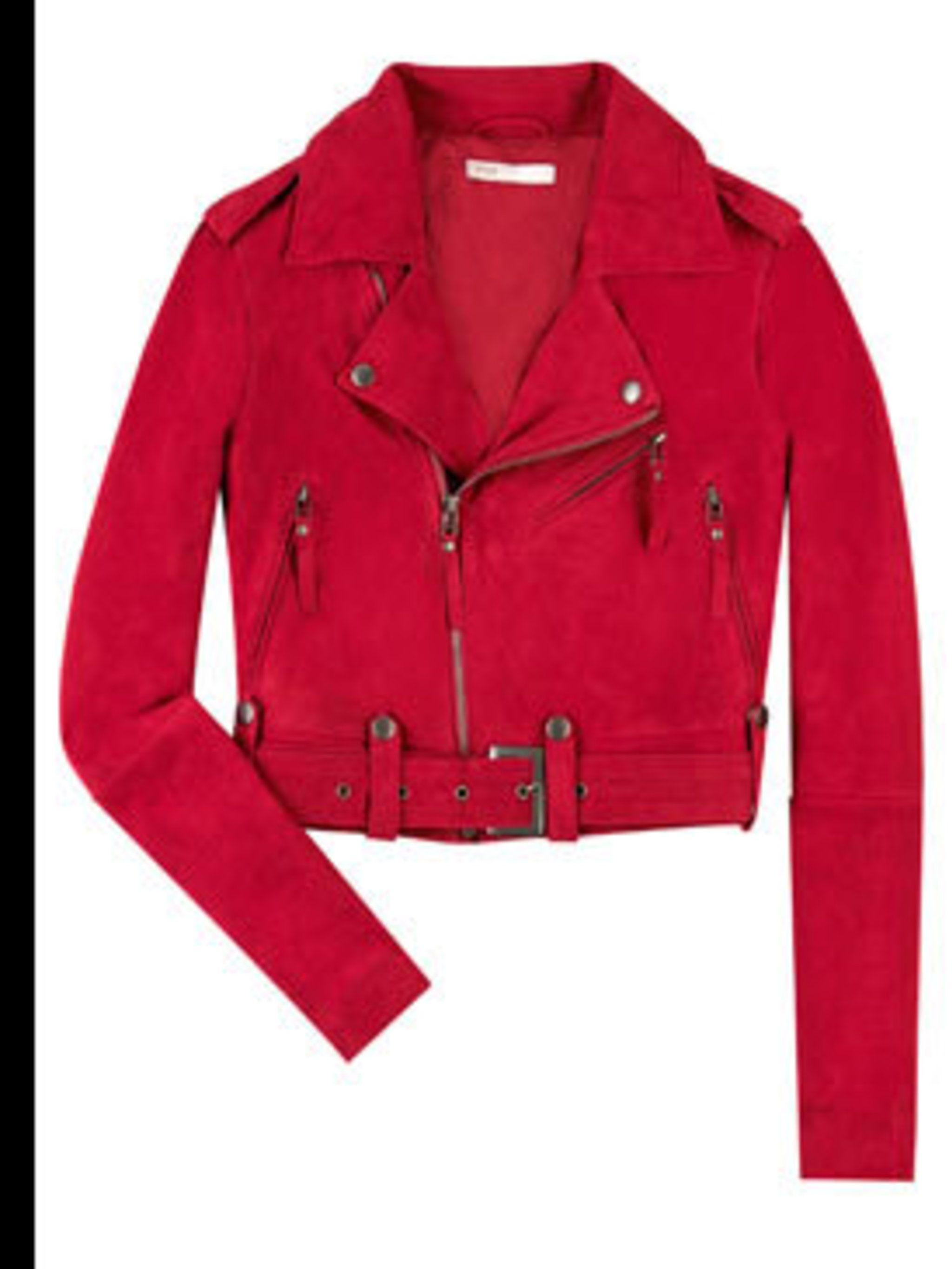 "<p>Red suede jacket, £225, by Maje, available at <a href=""http://www.net-a-porter.com/product/42213"">Net-a-porter.com</a></p>"