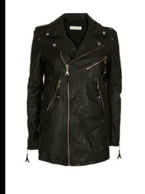 <p>Long black leather jacket, £350, by Whistles  (0870 770 4301) </p>