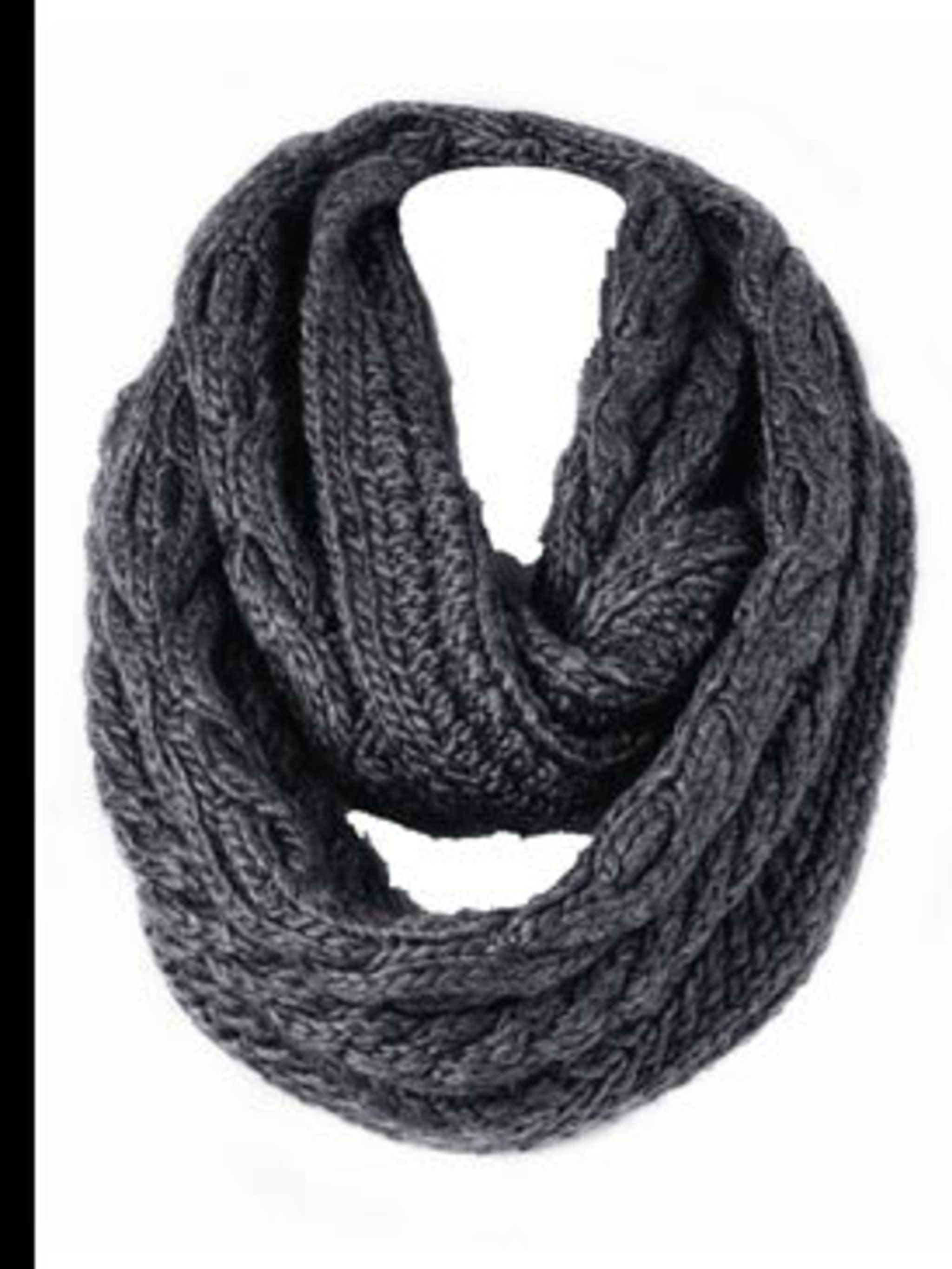 <p>Grey chunky knit snood, £80, by Banana Republic (020 7758 3550) </p>