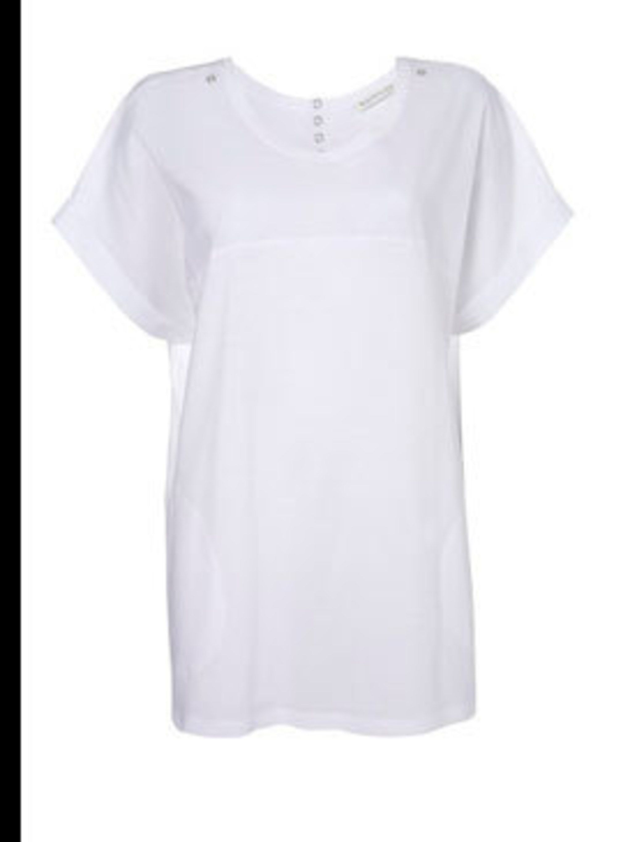 """<p>White tee, £45, by <a href=""""http://www.whistles.co.uk/fcp/product/whistles//Woven-Yoke-Oversize-Tee/903000053480"""">Whistles</a></p>"""