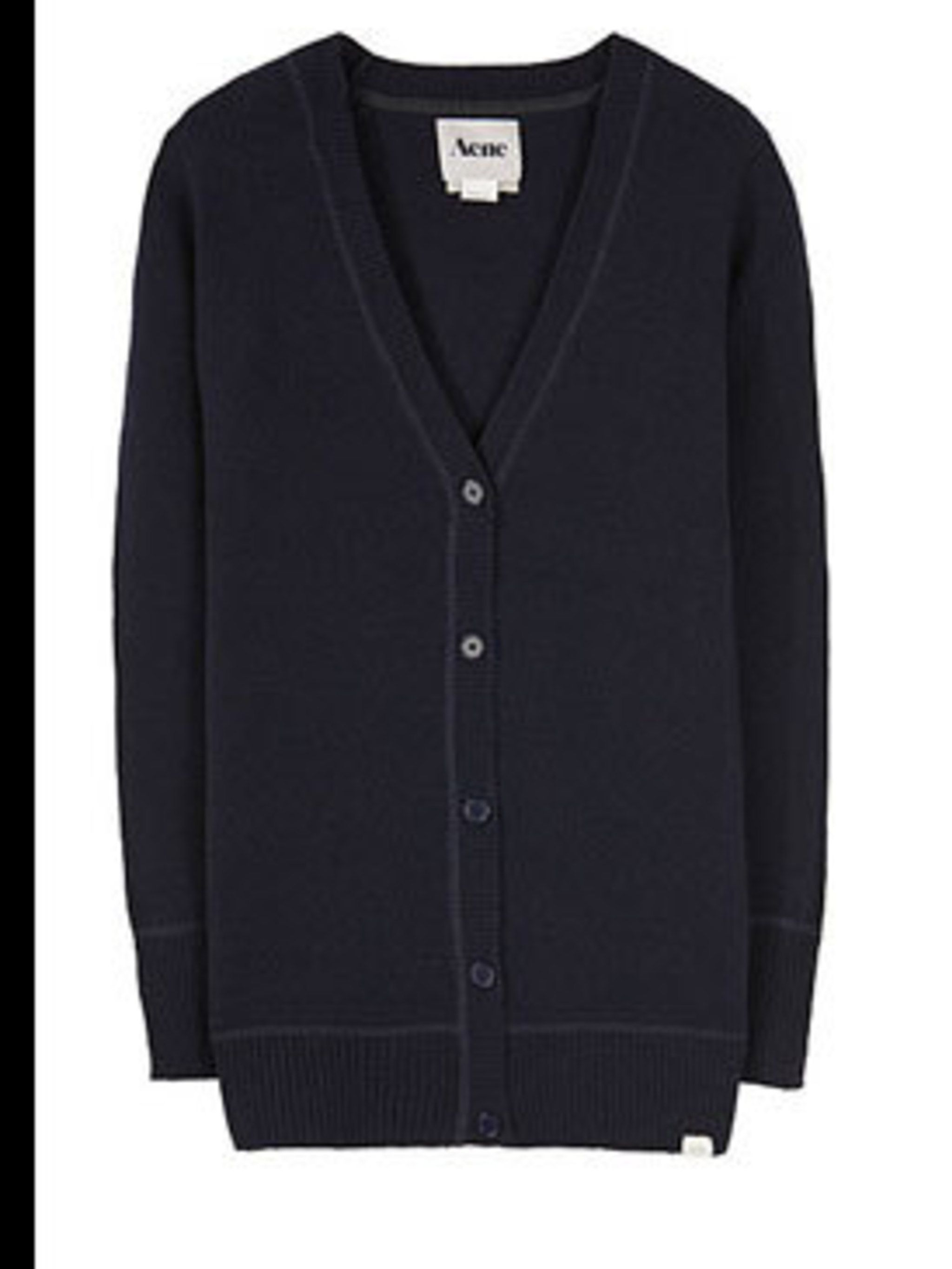 """<p>Navy cardigan, £98, by Acne at <a href=""""http://www.lagarconne.com/store/item.htm?itemid=4960&sid=293&pid=121"""">La Garconne</a></p>"""