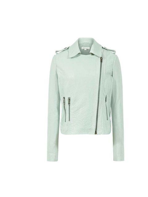 <p>Reiss mint leather biker jacket, £395</p>