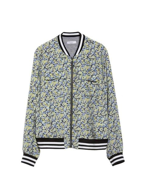 "<p>Layer over a black cotton dress, or pair with rolled-up boyfriend jeans.</p><p>Equipment jacket, £375 at <a href=""http://www.trilogystores.co.uk/equipment/abott-bomber-floral-blue-multi.aspx"">Trilogy</a></p>"