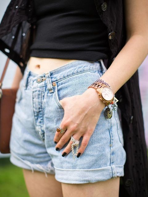 <p>Hayley Binnell wears vintage shorts, Michael Kors watch, Lucky Little Blighters silver ring.</p>