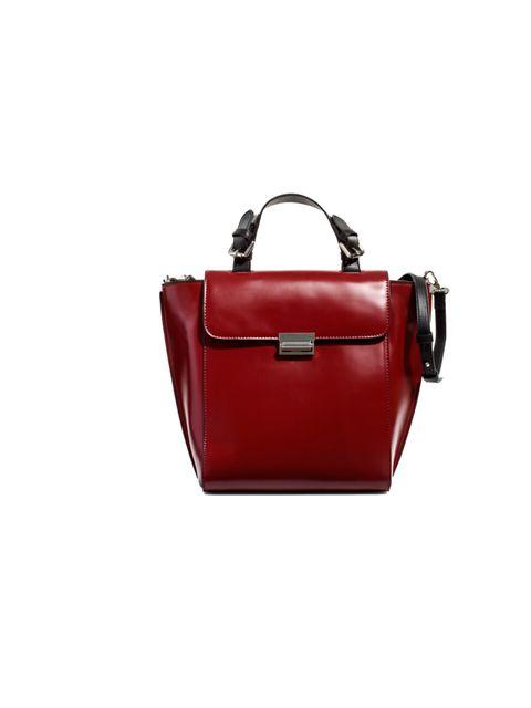 "<p>THE CITY BAG</p><p><a href=""http://www.zara.com/webapp/wcs/stores/servlet/product/uk/en/zara-neu-W2012/269200/909655/BAG%20WITH%20METALLIC%20CLASP"">Zara</a> burgundy leather handbag, £29.99</p>"