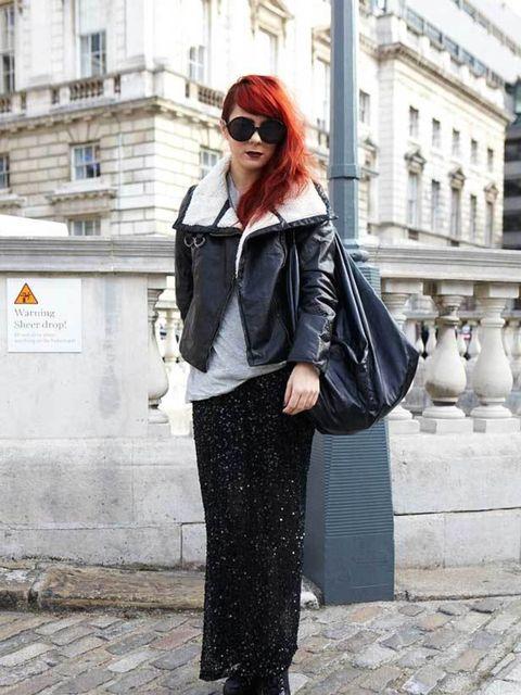 <p>Kelly Skeritt, 23, ELLE PA. H&M jacket, Cos t-shirt, River Island skirt, Topshop heels. </p>