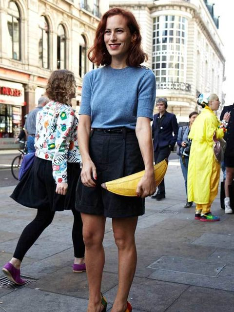 <p>Charlotte Dellal, 29, Shoe Designer. Marc Jacobs top and skirt, Charlotte Olympia clutch and heels. </p>