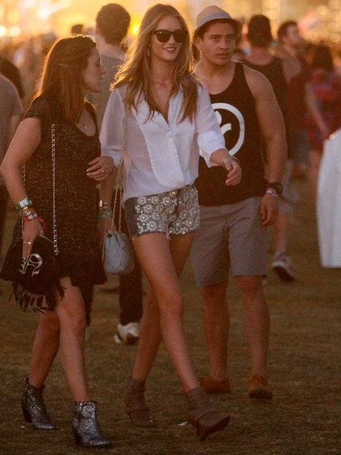 <p>Rosie Huntington-Whiteley in J Brand and Christopher Kane at Coachella</p>