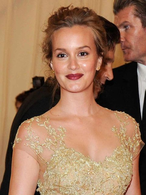 <p>Leighton Meester with vampy lips at the Met Ball 2012</p>