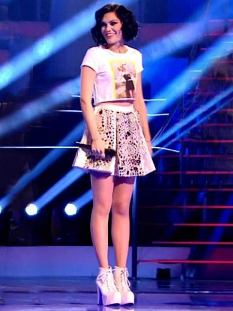 <p>Jessie J's outfit on The Voice</p>