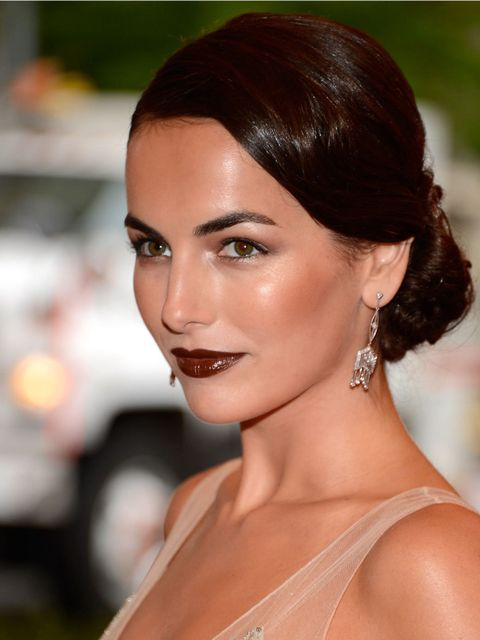 <p>Camilla Belle wearing her hair in a low bun at the 2012 Met Ball</p>