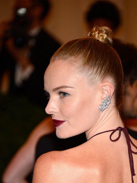 <p>Kate Bosworth wearing a sleek, plaited bun at the Met Ball 2012</p>