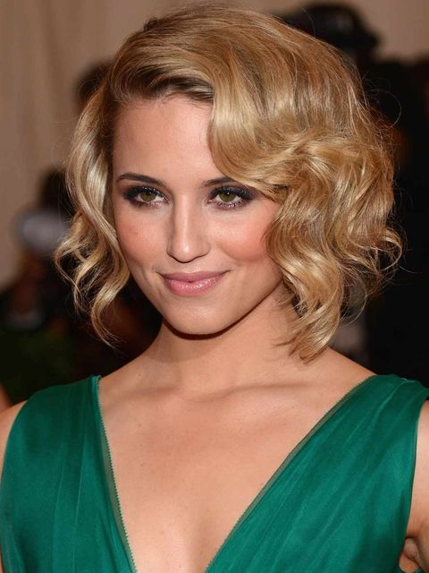 <p>Dianna Agron with a curly bob at the Met Ball 2012</p>