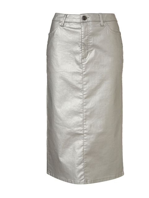 "<p>Topshop metallic pencil skirt, £32</p><p><a href=""http://shopping.elleuk.com/browse?fts=topshop+metallic+pencil+skirt"">BUY NOW</a></p>"