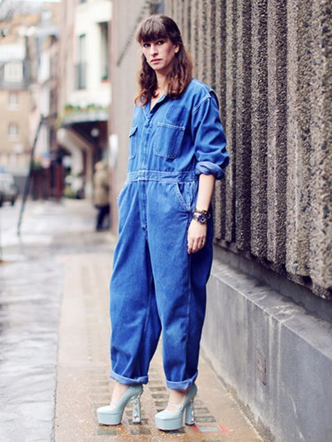 """<p>Lara Ferros - Picture Editor</p><p><a href=""""http://www.rokit.co.uk/vintage-womens/-clothing/playsuits-and-jumpsuits-and-onesies"""">Rokit jumpsuit</a>, Miu Miu shoes.</p>"""
