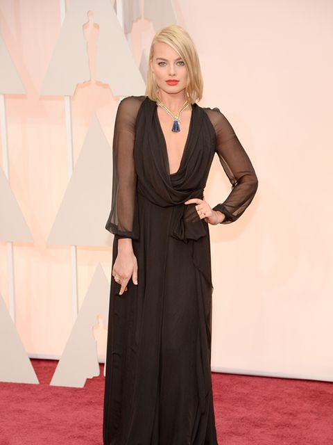 Margot Robbie wears Saint Laurent at the 2015 Oscars.