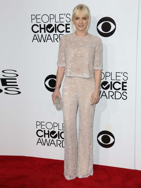 """<p>Anna Faris wears a Naeem Khan spring/summer 2014 pantsuit paired with Jimmy Choo's New Gael heels.</p><p><a href=""""http://www.elleuk.com/star-style/celebrity-fashion-trends/award-season-2014-celebrities-wear-british-designers""""></a></p>"""