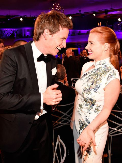 """<p>Eddie… having a laugh with <a href=""""http://www.elleuk.com/fashion/celebrity-style/jessica-chastain"""">Jessica Chastain</a>.</p>"""
