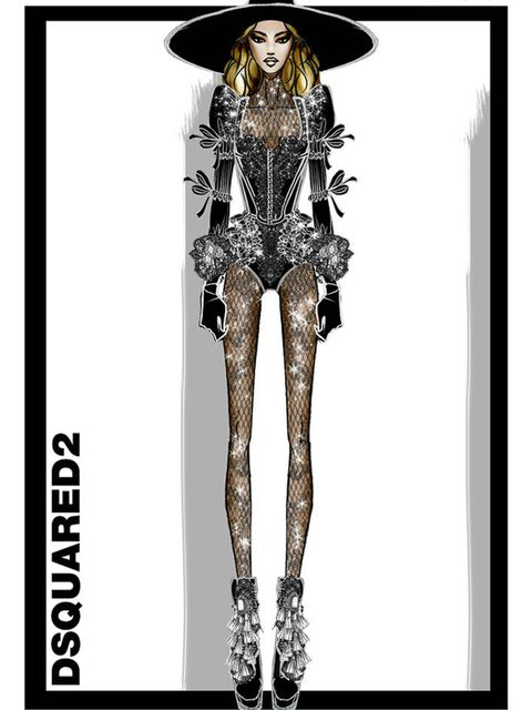 Beyoncé's opening look was designed by DSquared2.