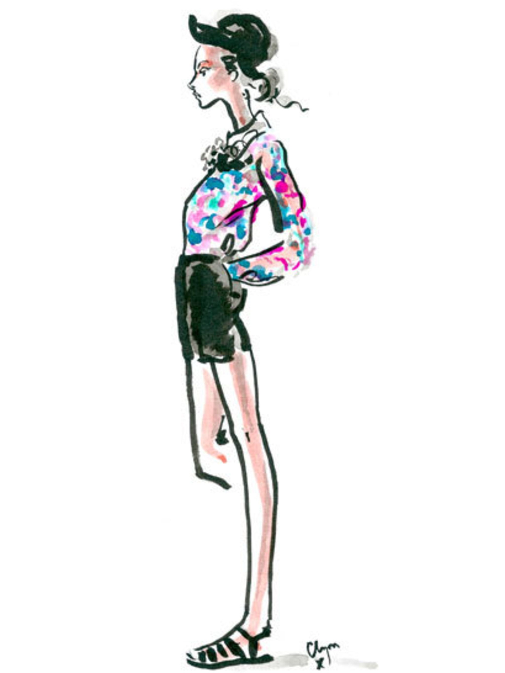 <p>A Clements Ribeiro spring summer 2013 look illustrated for ELLE by Clym Evernden</p>