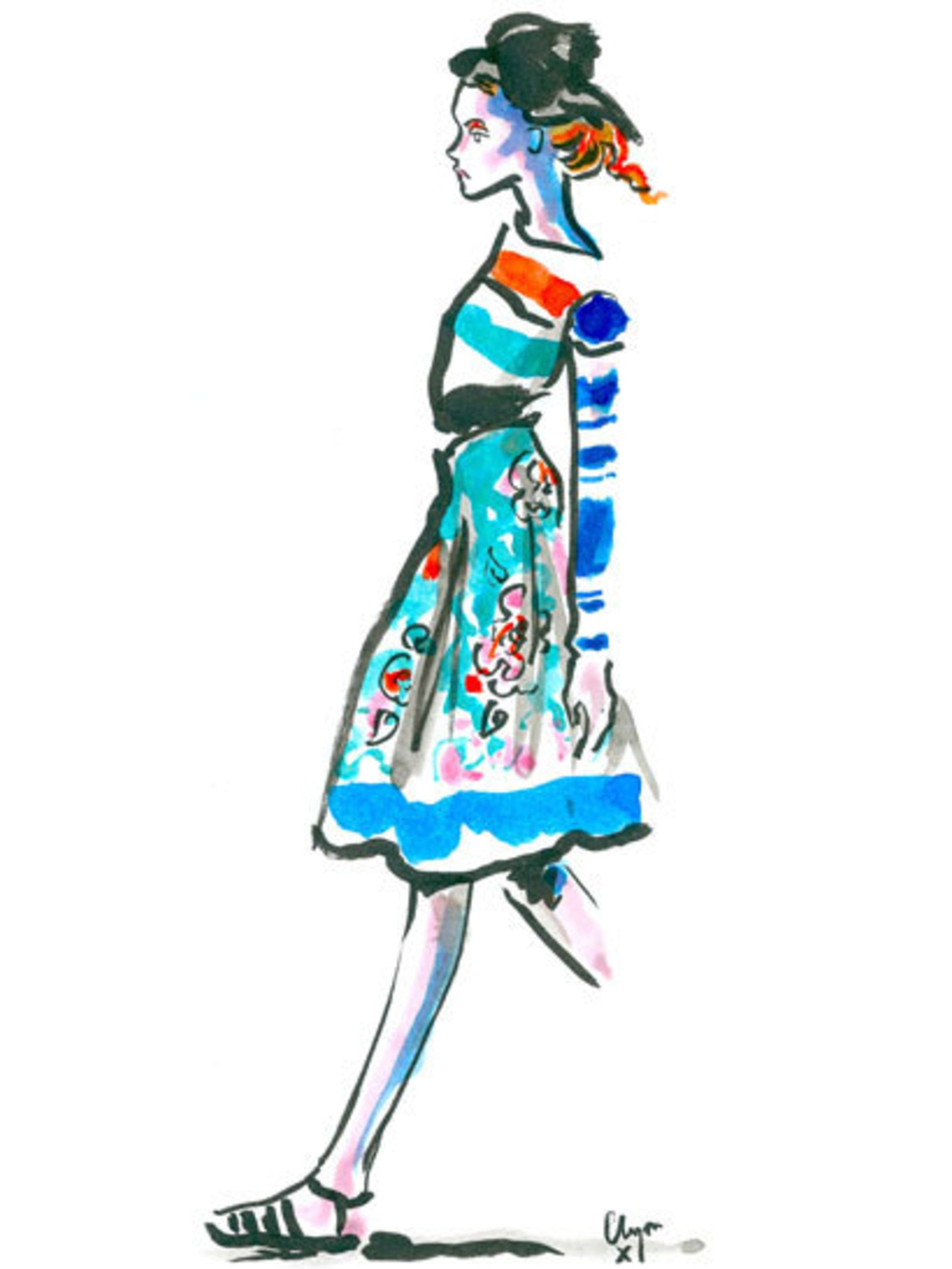 <p>Clements Ribeiro spring summer 2013  illustrated by Clym Evernden</p>