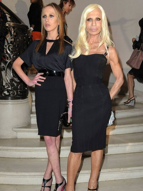 <p>Allegra and Donatella Versace at Christian Dior Couture AW12</p>