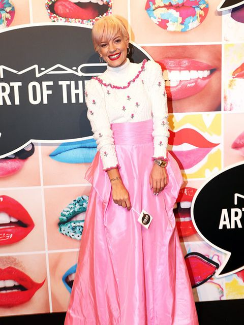 <p>Lily Allen wears Chanel to attend the Mac Art of the Lip event in Munich, June 2015.</p>