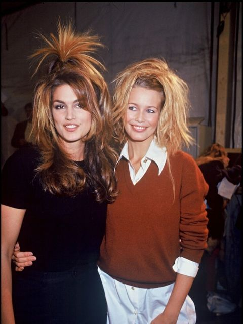 <p>With fellow super Claudia Schiffer backstage at a 1994 Chanel show</p>